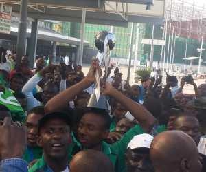 Celebrations As Golden Eaglets Arrive Abuja